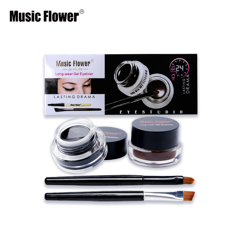 Music Flower Brown +Black 2 In 1 Eyeliner Gel Waterproof Make Up Thick Smooth Eye Liner Cream Long-lasting With 2 Makeup Brushes