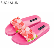 SUOJIALUN Women Indoor Slipper Fashion Flower Bathroom Shower Anti Slip Flip Flops Flat Beach Female Shoes