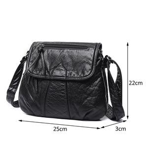 Image 3 - Aosbos小さな女性メッセンジャーバッグ洗浄puレザークロスボディハンドバッグ2019デザイナー女性のショルダーバッグbolsas