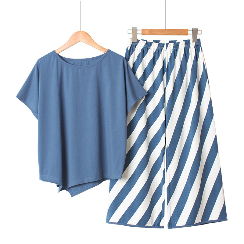 Loose Striped Broad-legged Pants Women Pajamas Set Summer Cotton Pajamas Women Short-sleeved Long Trousers Sleepwear Korean Suit