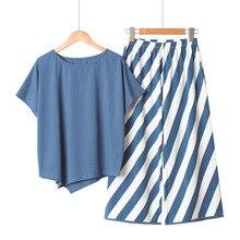 Luźne paski szerokie nogawki spodnie damskie piżamy zestaw letnia bawełniana piżama kobiety krótkie rękawy długie spodnie piżamy koreański garnitur