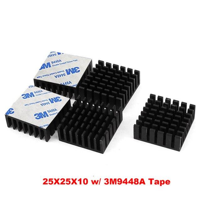 25x25x10mm Aluminium Heat Sink Black