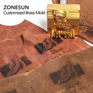Image 5 - Zonesun 20 ミリメートルカスタマイズされたスタンプブランディングロゴのエンボス加工ホットstaming革レザーウッド個性燃焼ためスタンピング金型