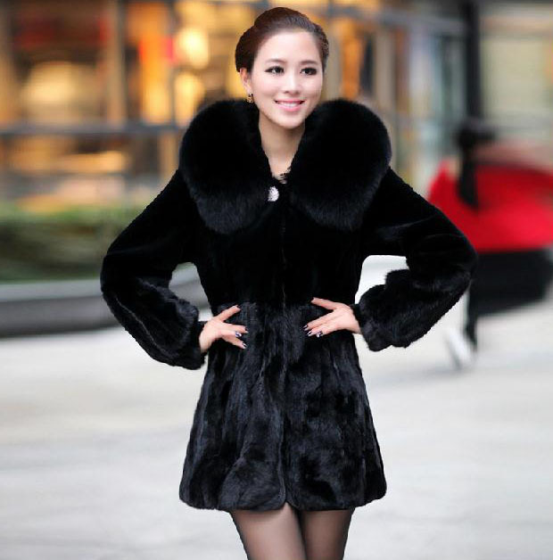 NEW Black Real Mink Otter Fur Coat Fox Hair Collar Long Style Warm ...