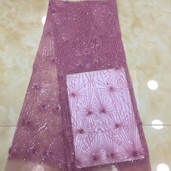 (5yards/pc) high quality pink African tulle lace fashion French net lace fabric with sequins and beads for party dress FZZ170