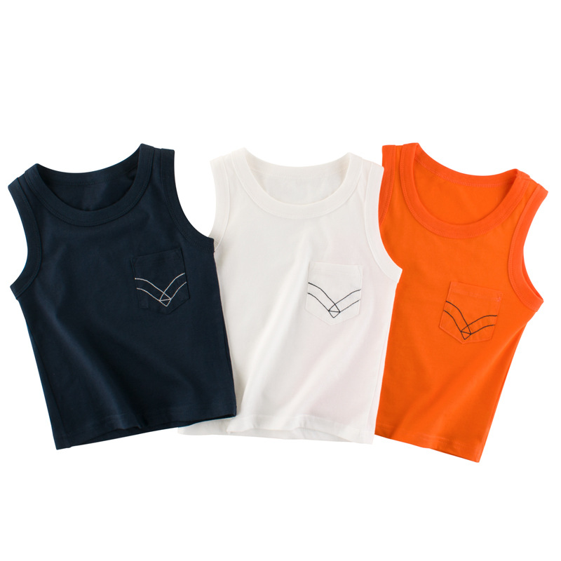 Summer new kids clothing cotton vest boys and girls solid color sleeveless sling 2-8Y kids casual tops