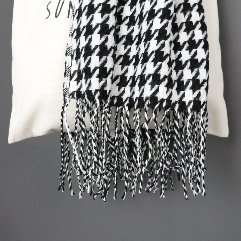 Image 4 - women winter thick fashion soft warm lady cashmere white and black long houndstooth scarf with tassel-in Women's Scarves from Apparel Accessories
