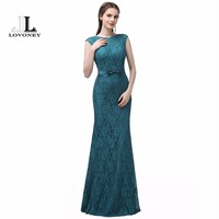 LOVONEY Mermaid Lace Formal Evening Dresses Sexy Open Back Long Women Dress Evening Party Gowns Robe