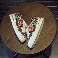 Design da marca bordado floral crianças sports shoes 2016 primavera outono meninas/meninos running shoes para crianças tênis da moda
