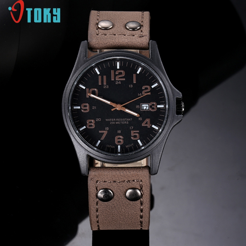 Excellent Quality OTOKY New Quartz Watches Vintage Classic Mens Date Leather Strap Sport Quartz Army Watches Relogio Masculino