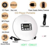 HOTT CD611T Portable Bluetooth CD Player with Rechargeable Battery LED display, CD walkman to enjoy music and audio book