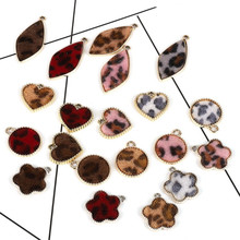 6pcs Alloy Leopard Imitation Horse Hair Round Love Rhombus Earrings Accessories Hand Made Necklace Bracelet Diy Jewelry Marking