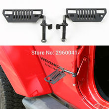 Pair Grill Grille Black Metal Side Door Runing Board Step Exterior Car Styling for Jeep Wrangler 2007- 2016