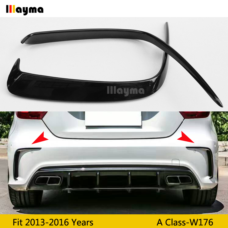 Car Gloss black ABS Rear Bumper Splitter Spoilers Canard for <font><b>Mercedes</b></font> for <font><b>Benz</b></font> <font><b>W176</b></font> <font><b>A200</b></font> A250 A45 for AMG 2013-1016 year 1Pair image