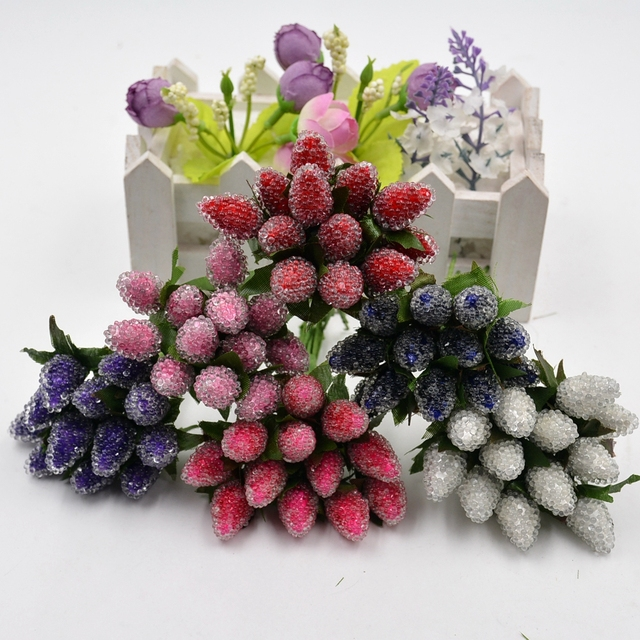 144pcs Artificial flower high quality crystal style strawberry ...