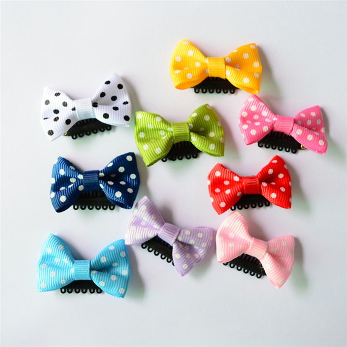 HTB1brM0JVXXXXXLXpXXq6xXFXXXD Cute 10-Pieces Solid Polka Dot Mini Bow Baby Hair Grips - 2 Styles