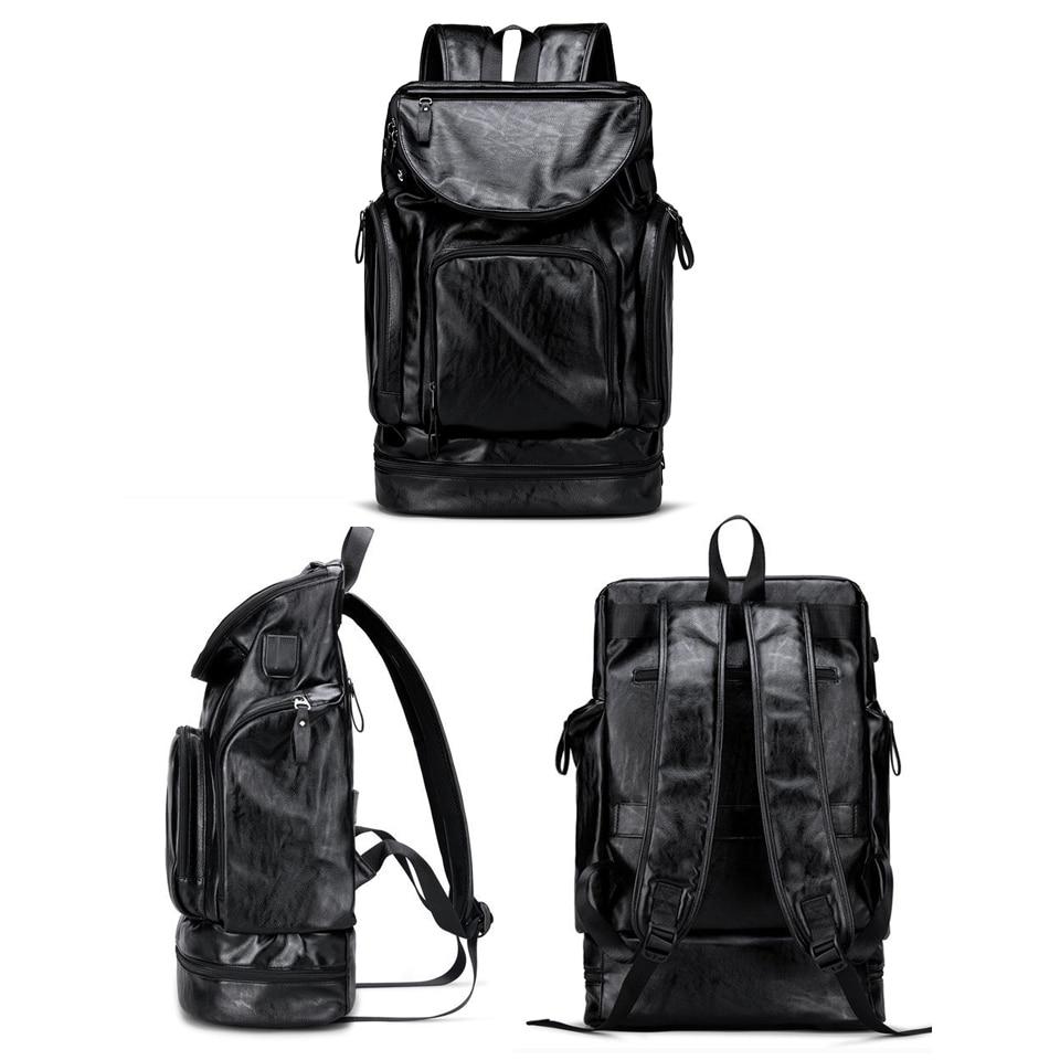 PU Leather Backpack Men Laptop Backpacks 17'' Anti-theft Male Bag Pack Waterproof USB Charging Password Student Travel Bagpack
