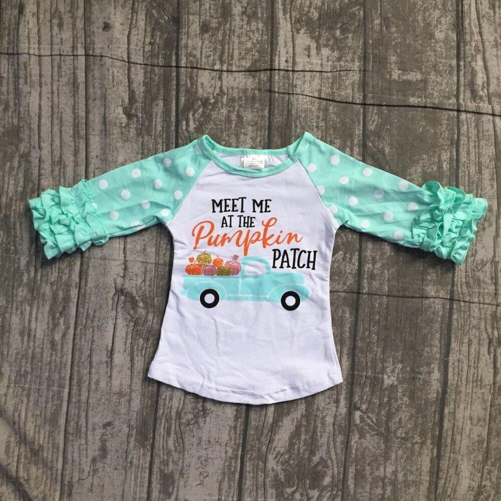Halloween neonate boutique top t-shirt vestiti meet me in zucca glassa top in cotone a manica dei bambini raglans usura dei capretti increspature