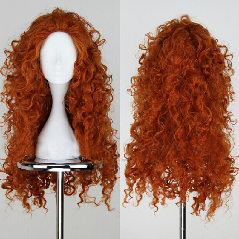 Movie Brave Princess Merida Wig Cosplay Costumes  Mei lida Long Curly Synthetic Wigs Hair Halloween Party Role Play Women Girls