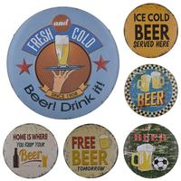 Round Beer Metal Sign Vintage Wall Art Painting Tin Signs Metal Plaque Metal Plate Cafe Bar