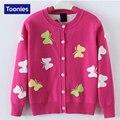 2-14 Años Niñas chaqueta de Punto de Algodón Mariposas Niñas Impresos Sweaters 2017 Otoño Invierno Nuevo Estilo de Los Niños Suéter Caliente