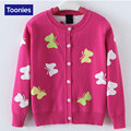 2-14 Years Girls Cotton Cardigan Butterflies Printed Girls' Sweaters 2017 Spring Autumn Winter New Style Children Warm Sweater