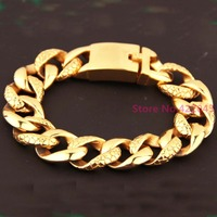 Heavy 18mm 316L Stainless Steel Bracelet 18K Gold Plated Curb Cuban Link Chain Mens Boys Fashion