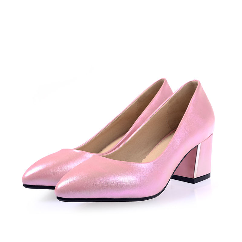 Women Shoes Med Medium Heel Pumps Square Block Heeled Pumps PU Leather Pointed Toe Pink Summer Autumn Sexy Female Ladies Shoes selens pro 100x100mm 12nd square medium