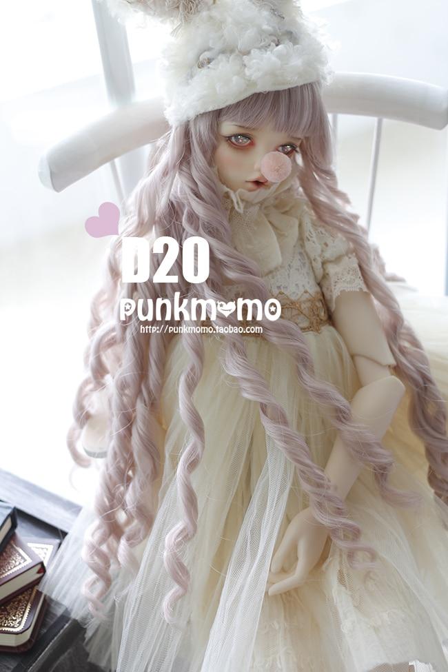 1/3 22-24cm  bjd  wig   doll  DIY High-Temperature  purple /galois  long curly  hair for  BJD/DD dollfie 22 24cm 1 3 bjd doll sd fur wig dollfie creamy white long curl hair 013