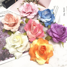 6 PCS/(7 cm) artificial silk gold rose flower heads home decoration/DIY wedding garland collage decorative flowers