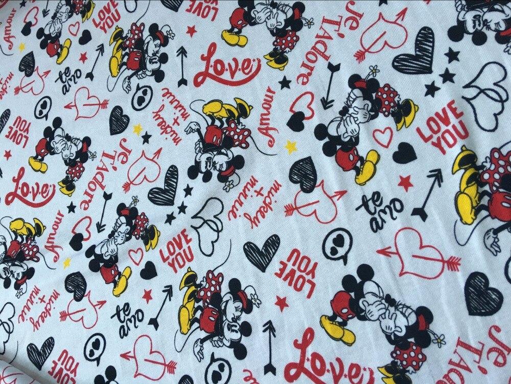 white mickey Minnie 100% cotton fabrics knit Scalable print Patchwork DIY pajamas clothes dress dress Sewing Textile Tilda