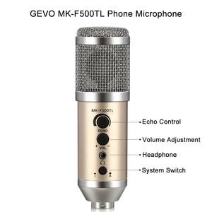 Image 2 - GEVO MK F500TL microfono pc profesional 3,5mm jack con cable USB condensador micrófono Karaoke para teléfono portátil para la radiodifusión de grabación de música para estudio con clip de soporte mic