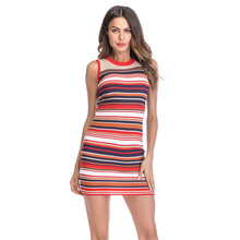 Casual Striped Dress Sleeveless Knitted Bodycon Rainbow Color Block Sexy Pencil Colorful Dresses Women Clothing Summer Vesttido casual striped color block dress