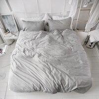 100% Cotton Twin Queen King Bed/Fit sheet set Kids Adults Black White Grey Stripe Bedding Set Duvet Cover Linen Soft 38