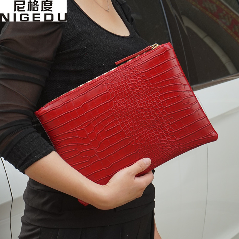 Fashion Crocodile Women's Clutch Bag Pu Leather Women Envelope Evening Bag 2019 New Female Clutches Handbag Bolsa Feminina Purse