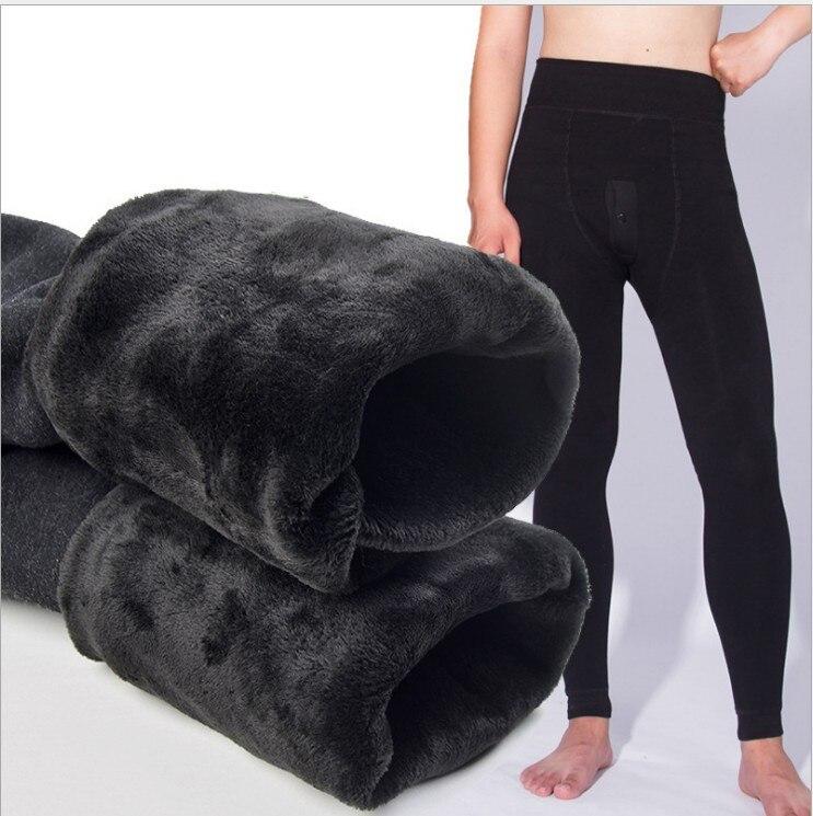 Winter Warm Men Long Johns Thick Velvet Thermal Leggings Man Black Elastic High Waist Underpants Pantalon Termico