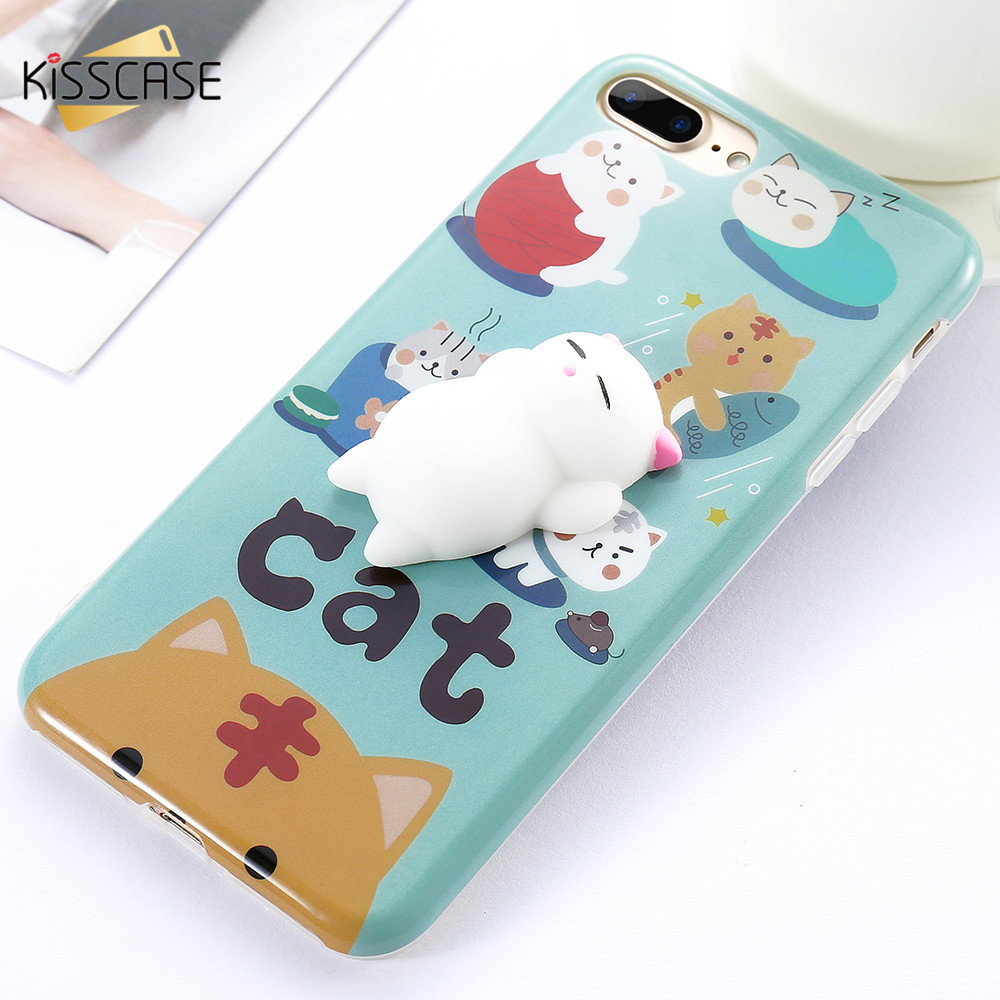 Cover iphone 5 squishy - Squishi Phone Cases For Iphone 5s Case Iphone 7 6 6s Plus 3d Cute Pappy Squishy Cat Case For Iphone 5 5s Se Cat Back Cover Coque