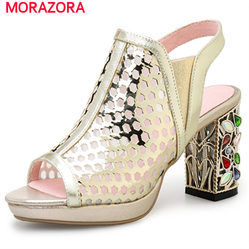 MORAZORA Peep toe genuine leather shoes non-slip high heels shoes woman solid summer sandals women big size 34-40 handmade genuine leather sandals women shoes lady high quality 2017 summer red silvery closed toe medium heels big size 10 41 42