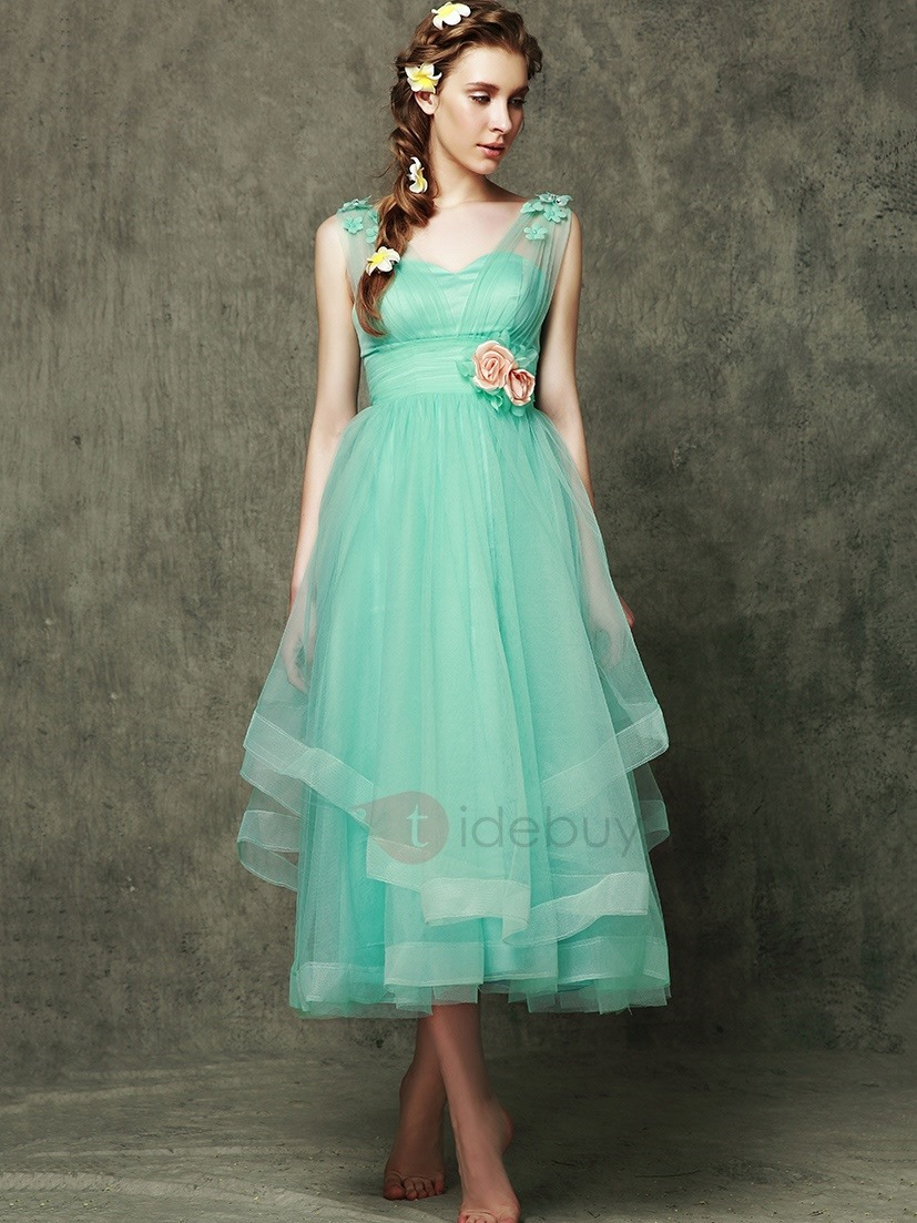 New Bridesmaid Dresses 2017 Tea Length V Neck Empire Tulle Wedding ...