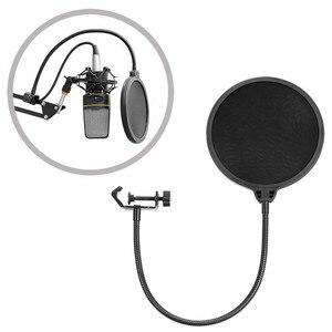 Image 4 - Держатель для микрофона Neewer NB 35, микрофонное крепление с подвесом и зажимом, закрепляется на столе, поп фильтр для защиты от ветра