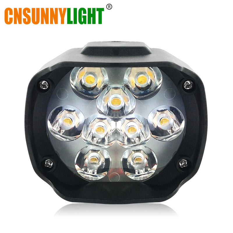 CNSUNNYLIGHT Motorcycle Bike LED Headlight Fog DRL Spot Light Spotlight Foglamp DIY Super Bright Scooter White External Headlamp