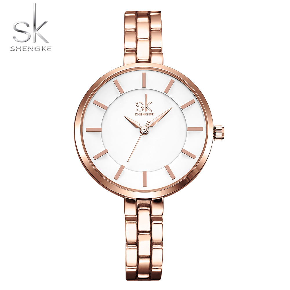 Shengke Luxury Bracelet Women Watches Super Slim Rosegold Strap Quartz Japanese Movement Montre Femme Marque De Luxe 2018 Lady