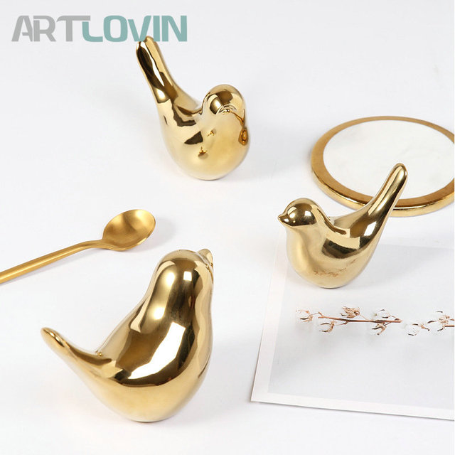 2020 Creative Gold Decorations Ceramic Golden Bird Figurines Home Decoration Accessories Bird Figure Fashion Wedding Ornaments 3