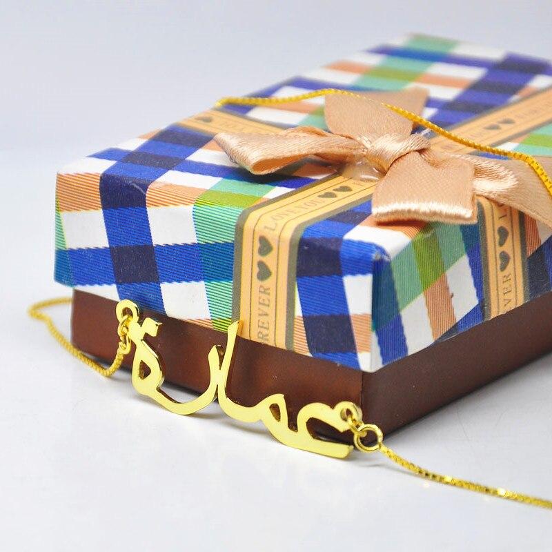 Арабское имя ожерелье персонализированные именные таблички кулон коробка цепь collier воротник colar