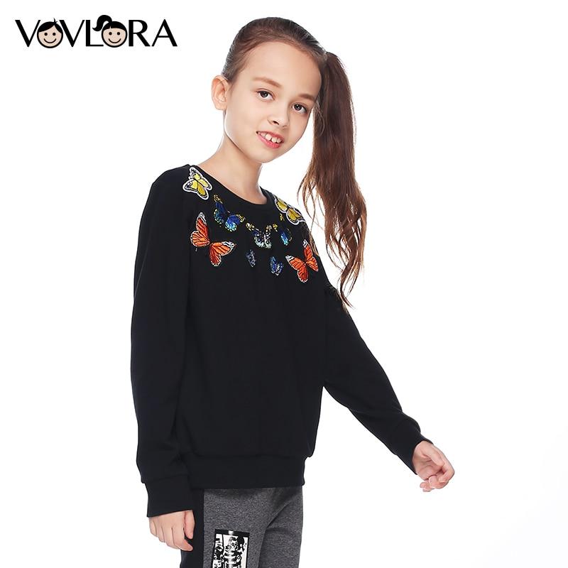 Girls sweatshirts knitted autumn kids sweatshirts for girls tops pattern cotton O-neck black&red fall fashion kids clothes 2017
