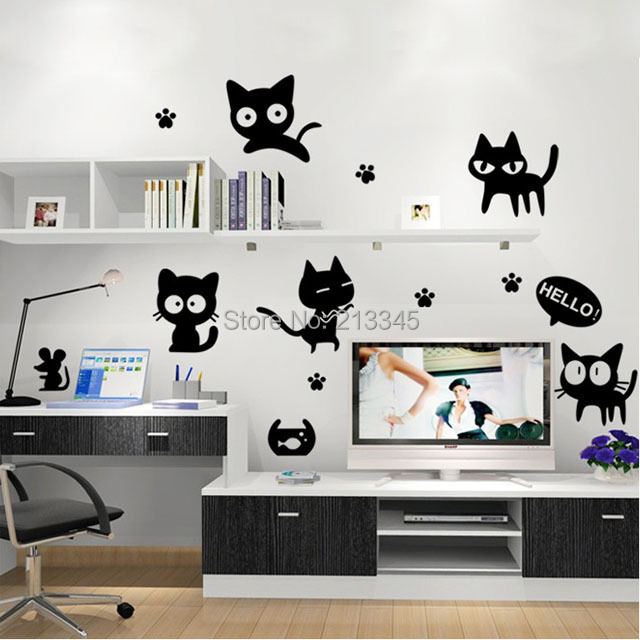 [Saturday Monopoly] diy wall stickers home decor cute mischievous black cat pattern mural decal kids room decoracion hogar pared
