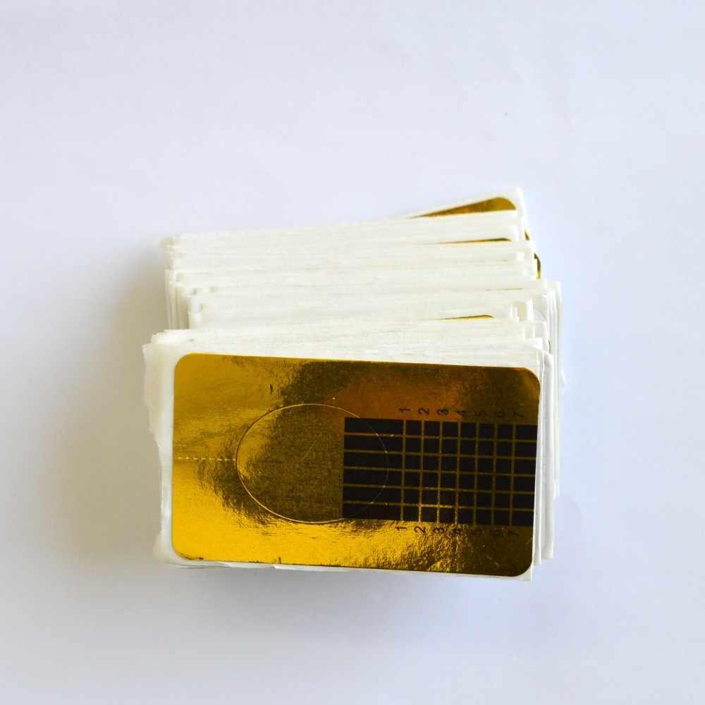 100Pcs Fashion Nail Art Panduan Bentuk Stiker Golden Acrylic UV Gel Polandia Bergaya Tips Ekstensi Kuku Alat LANJ070-1