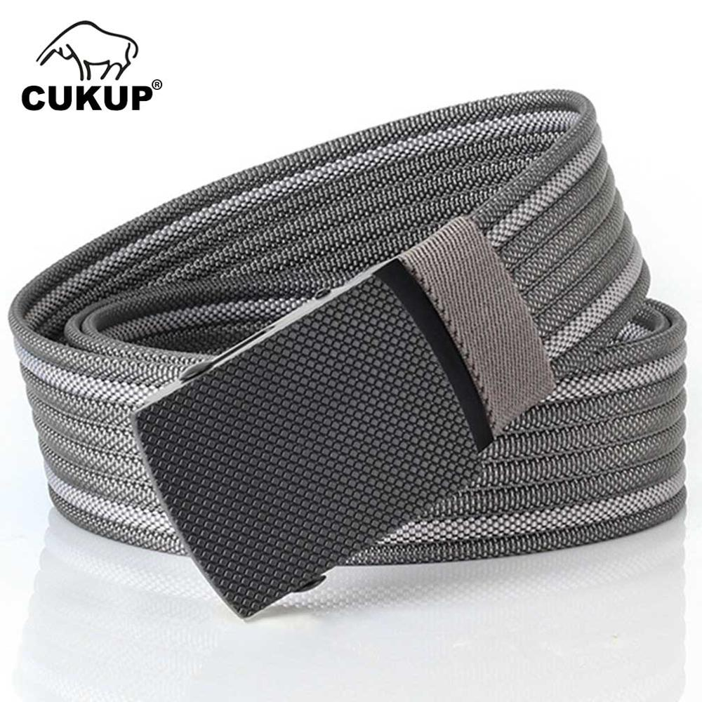 CUKUP 2018 New Design Men s Quality Striped Grey Nylon Belt Black Zinc Alloy Buckles Metal