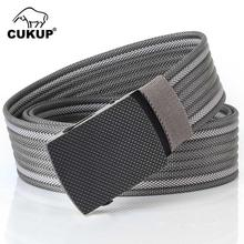 CUKUP 2018 New Design Men's Quality Striped Grey Nylon Belt Black Zinc Alloy Buckles Metal Colours Canvas Belts for Men CBCK137