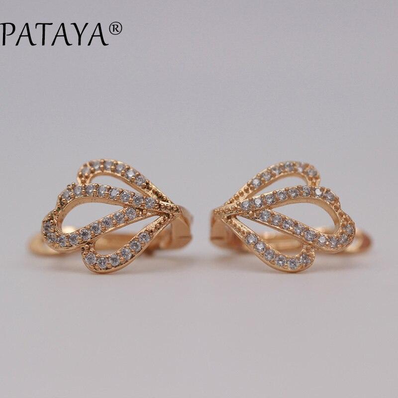 PATAYA Original Design Petal Earrings 585 Rose Gold White Round Natural Cubic Zircon Dangle Earrings Women Wedding Fine Jewelry